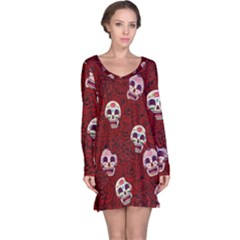 Funny Skull Rosebed Long Sleeve Nightdress
