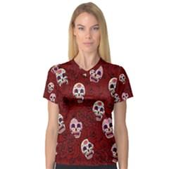Funny Skull Rosebed Women s V Neck Sport Mesh Tee
