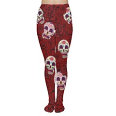 Funny Skull Rosebed Women s Tights