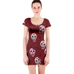 Funny Skull Rosebed Short Sleeve Bodycon Dress