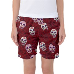 Funny Skull Rosebed Women s Basketball Shorts