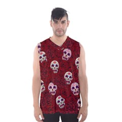 Funny Skull Rosebed Men s Basketball Tank Top