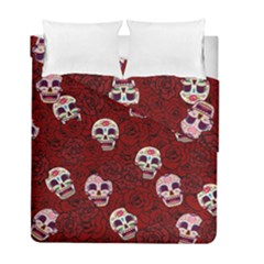 Funny Skull Rosebed Duvet Cover Double Side (full/ Double Size)