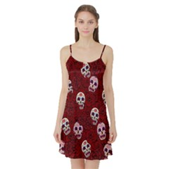 Funny Skull Rosebed Satin Night Slip