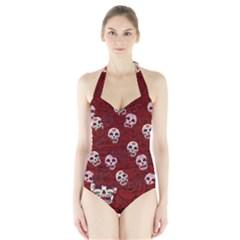 Funny Skull Rosebed Halter Swimsuit
