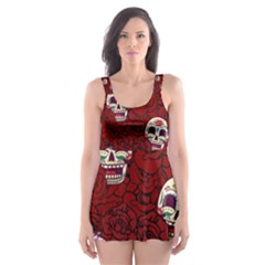 Funny Skull Rosebed Skater Dress Swimsuit