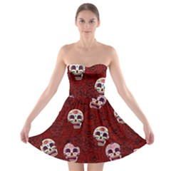 Funny Skull Rosebed Strapless Bra Top Dress