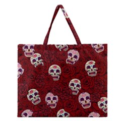 Funny Skull Rosebed Zipper Large Tote Bag