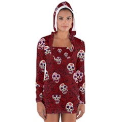 Funny Skull Rosebed Women s Long Sleeve Hooded T Shirt