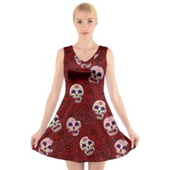 Funny Skull Rosebed V Neck Sleeveless Skater Dress
