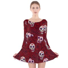 Funny Skull Rosebed Long Sleeve Velvet Skater Dress