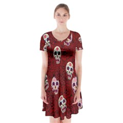 Funny Skull Rosebed Short Sleeve V Neck Flare Dress