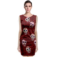 Funny Skull Rosebed Classic Sleeveless Midi Dress