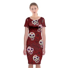 Funny Skull Rosebed Classic Short Sleeve Midi Dress