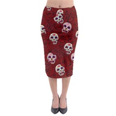 Funny Skull Rosebed Midi Pencil Skirt