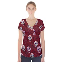 Funny Skull Rosebed Short Sleeve Front Detail Top