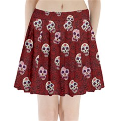 Funny Skull Rosebed Pleated Mini Skirt