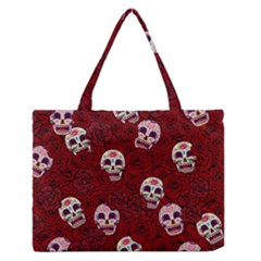 Funny Skull Rosebed Medium Zipper Tote Bag