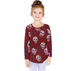 Funny Skull Rosebed Kids  Long Sleeve Tee