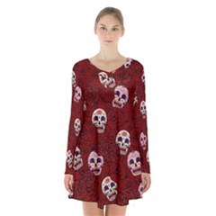 Funny Skull Rosebed Long Sleeve Velvet V Neck Dress