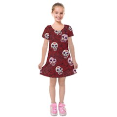 Funny Skull Rosebed Kids  Short Sleeve Velvet Dress