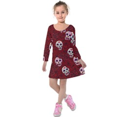 Funny Skull Rosebed Kids  Long Sleeve Velvet Dress