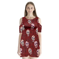 Funny Skull Rosebed Shoulder Cutout Velvet  One Piece