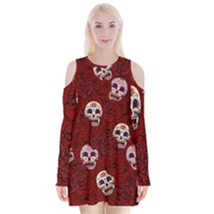 Funny Skull Rosebed Velvet Long Sleeve Shoulder Cutout Dress