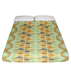 Ethnic Orange Pattern Fitted Sheet (queen Size) by linceazul