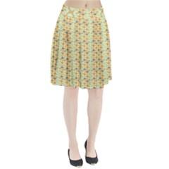 Ethnic Orange Pattern Pleated Skirt by linceazul