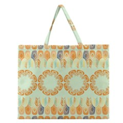 Ethnic Orange Pattern Zipper Large Tote Bag by linceazul
