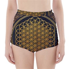 Bring Me The Horizon Cover Album Gold High Waisted Bikini Bottoms by Onesevenart