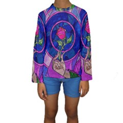 Enchanted Rose Stained Glass Kids  Long Sleeve Swimwear by Onesevenart