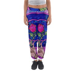 Enchanted Rose Stained Glass Women s Jogger Sweatpants by Onesevenart