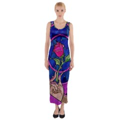 Enchanted Rose Stained Glass Fitted Maxi Dress by Onesevenart