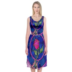 Enchanted Rose Stained Glass Midi Sleeveless Dress by Onesevenart