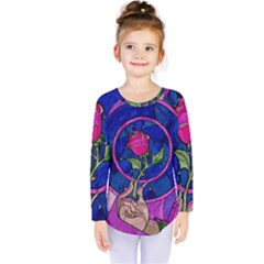 Enchanted Rose Stained Glass Kids  Long Sleeve Tee by Onesevenart