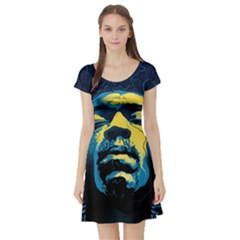 Gabz Jimi Hendrix Voodoo Child Poster Release From Dark Hall Mansion Short Sleeve Skater Dress by Onesevenart