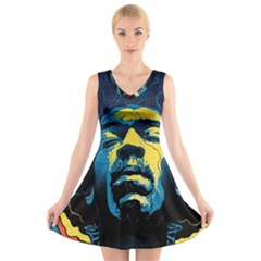 Gabz Jimi Hendrix Voodoo Child Poster Release From Dark Hall Mansion V Neck Sleeveless Skater Dress by Onesevenart