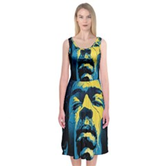 Gabz Jimi Hendrix Voodoo Child Poster Release From Dark Hall Mansion Midi Sleeveless Dress by Onesevenart