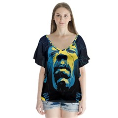 Gabz Jimi Hendrix Voodoo Child Poster Release From Dark Hall Mansion Flutter Sleeve Top by Onesevenart