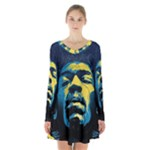 Gabz Jimi Hendrix Voodoo Child Poster Release From Dark Hall Mansion Long Sleeve Velvet V-neck Dress