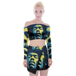 Gabz Jimi Hendrix Voodoo Child Poster Release From Dark Hall Mansion Off Shoulder Top with Skirt Set