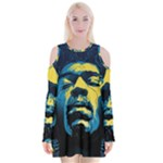 Gabz Jimi Hendrix Voodoo Child Poster Release From Dark Hall Mansion Velvet Long Sleeve Shoulder Cutout Dress