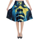 Gabz Jimi Hendrix Voodoo Child Poster Release From Dark Hall Mansion Flared Midi Skirt