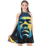 Gabz Jimi Hendrix Voodoo Child Poster Release From Dark Hall Mansion Halter Neckline Chiffon Dress