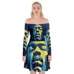 Gabz Jimi Hendrix Voodoo Child Poster Release From Dark Hall Mansion Off Shoulder Skater Dress