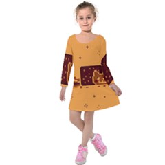 Nyan Cat Vintage Kids  Long Sleeve Velvet Dress by Onesevenart