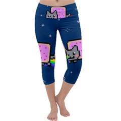 Nyan Cat Capri Yoga Leggings by Onesevenart