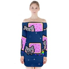 Nyan Cat Long Sleeve Off Shoulder Dress by Onesevenart